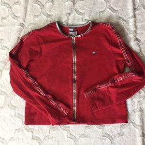 Red Tommy girl Hilfiger vintage cropped cardigan